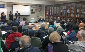 CD5 Planning Deputy Hagu Solomon-Cary addresses homeowners at the WSSM HOA Board Meeting on February 5, 2019