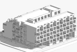Rendering of the completed 2136-2140 Westwood project