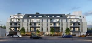 Rendering of the 2121 Westwood project, looking from the east side of the street.